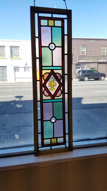 "Item #CW4 Antique ""Fleur-di-lis"" Stained Glass c.1890s"