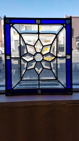 "Item #CW5a Antique ""Blue Sunflower"" Stained Glass c.1890s"