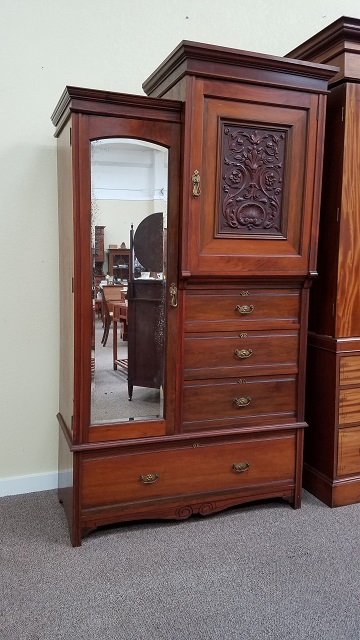 Item #F214 Victorian Armoire w/ Drawers & Hanging c.1900