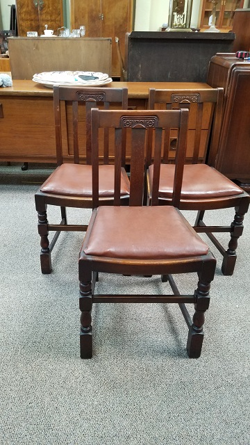 Attirant Item #N12 English Oak Side Chairs (Sold Individually) C.1940s