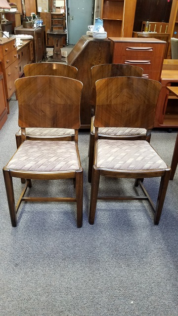 Item #N2395 Set of Four Deco Dining Chairs c.1940s
