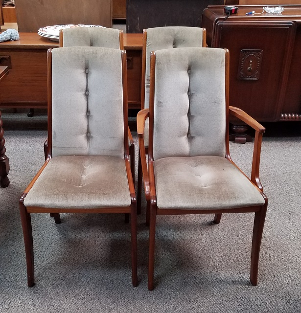 Item #N2433 Set of Four Teak & Fabric Dining Chairs c.1960s