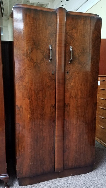 Item #N2442 Deco Burl Walnut Armoire c.1930s