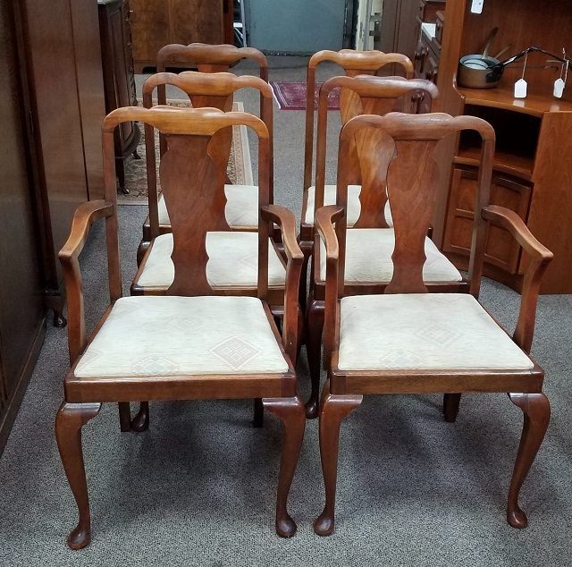 Item #N35 Set of Six Vintage Walnut Dining Chairs c.1940s