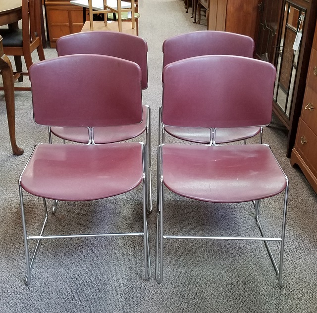 Item #N82 Set of Four Vintage Metal Frame Stacking Chairs c.1970s