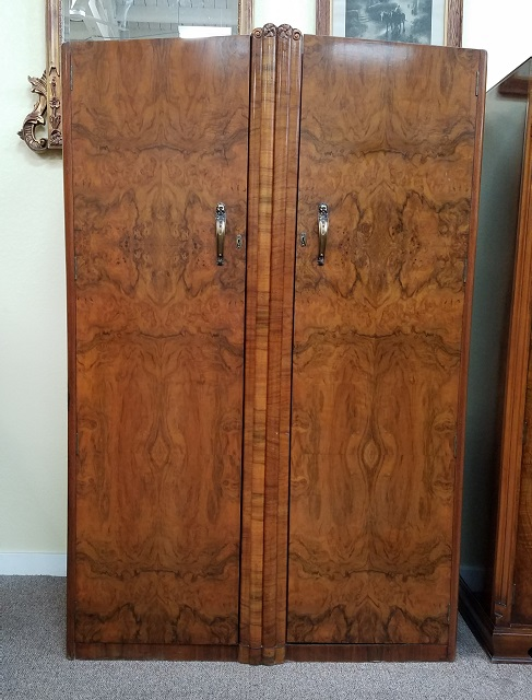 Item #N84 Double Door Burl Walnut Armoire c.1940s