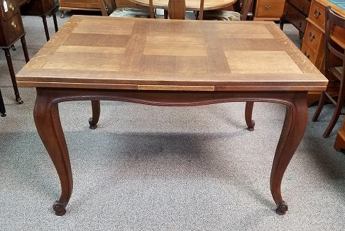 Item #XCS French Country Parquet Draw Leaf Dining Table c.1940s
