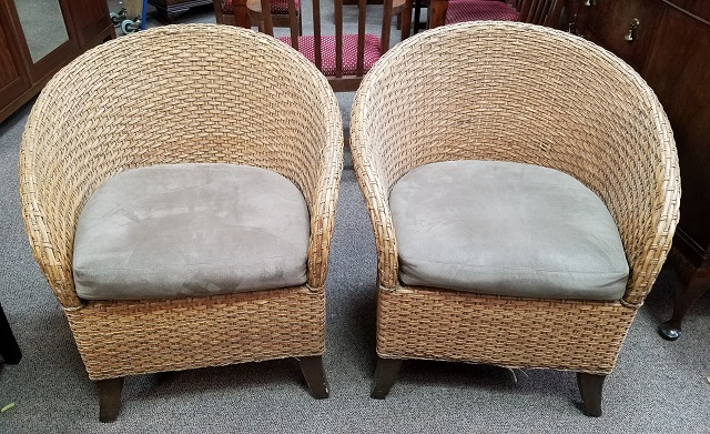 Item #SG7 Barrel Back Bamboo U0026 Rattan Arm Chairs