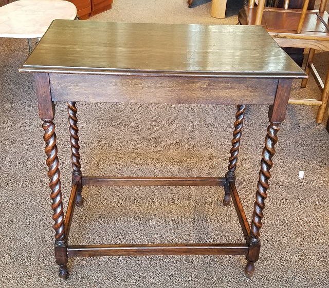 Item #KF1 Traditional English Oak Window Table W/ Barley Twist Leg C.1920s