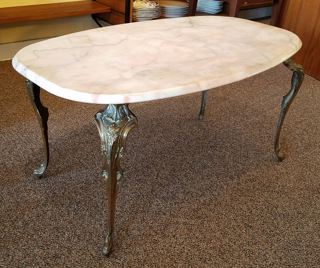 Item #O77 Hollywood Regency Style Coffee Table W/ Alabaster Top C.1950s