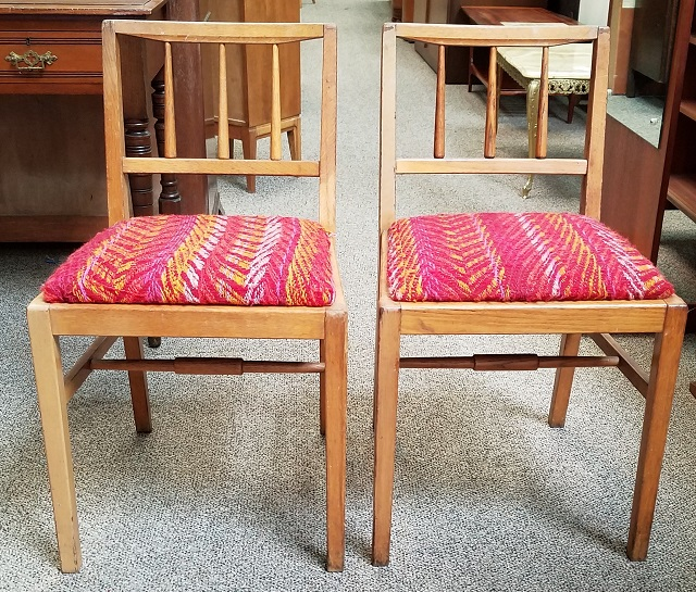 Item #P32 Pair Of Vintage Oak Chairs C.1930s