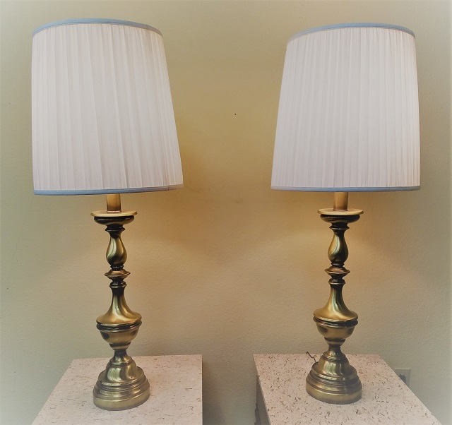 Item Sj24 Pair Of Vintage Br Table Lamps C 1960s Mccarneys Furniture